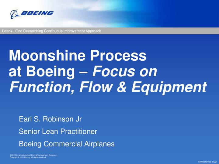 moonshine process at boeing focus on function flow equipment n.