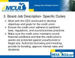 3 board job description specific duties