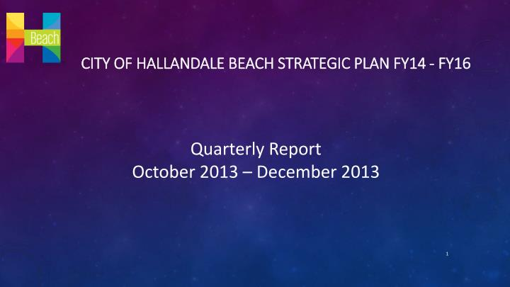 City of hallandale beach strategic plan fy14 fy16