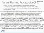 annual planning process aka cpic