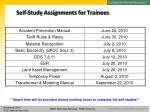 self study assignments for trainees