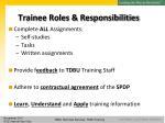 trainee roles responsibilities