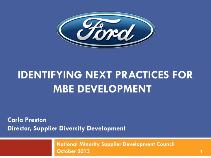 identifying next practices for mbe development n.