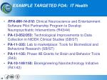 example targeted foa it health