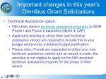 important changes in this year s omnibus grant solicitations