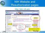 nih website and reauthorization pages