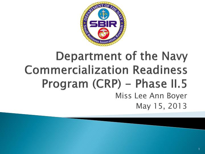 department of the navy commercialization readiness program crp phase ii 5 n.