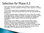 selection for phase ii 5