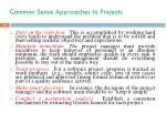 common sense approaches to projects