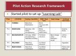 pilot action r esearch framework
