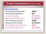 project achievement till oct 20101