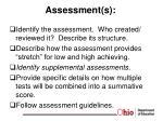 assessment s