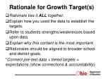 rationale for growth target s