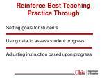 reinforce best teaching practice through