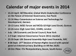 calendar of major events in 2014