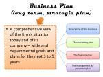 business plan long term strategic plan