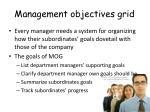management objectives grid