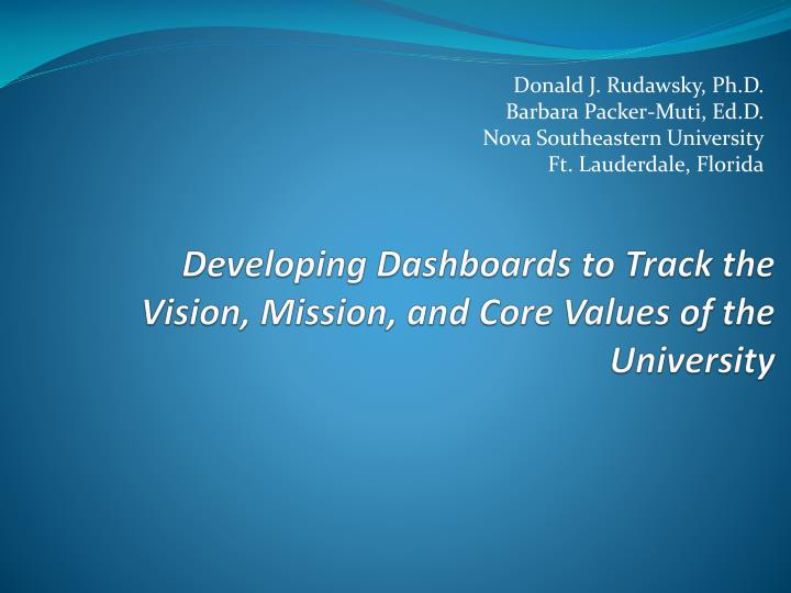 developing dashboards to track the vision mission and core values of the university n.