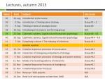 lectures autumn 2013