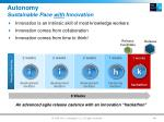 autonomy sustainable pace with innovation