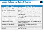 leader actions for mutual influence
