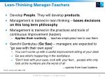 lean thinking manager teachers