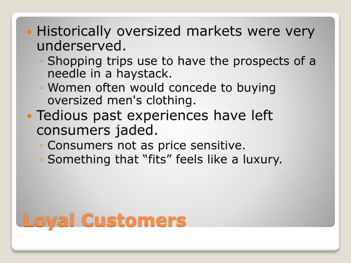 Historically oversized markets were very underserved.