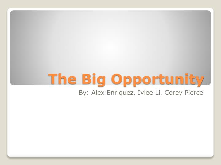 the big opportunity n.