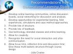 recommendations from generational learning styles