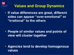 values and group dynamics