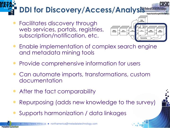 DDI for Discovery/Access/Analysis