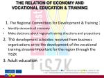 the relation of economy and vocational education training