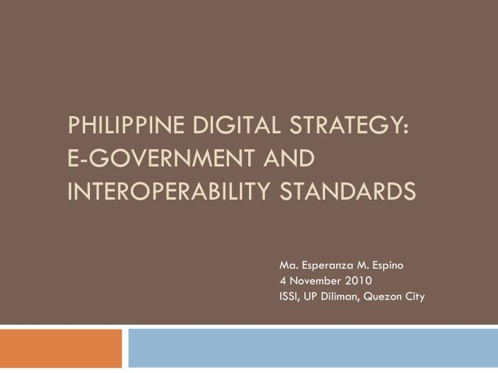 philippine digital strategy e government and interoperability standards n.