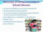 necessity of entrepreneurship in school libraries