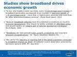 studies show broadband drives economic growth