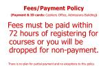 fees payment policy payment id cards cashiers office admissions building