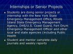 internships or senior projects