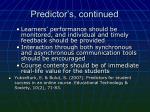 predictor s continued