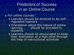 predictors of success in an online course