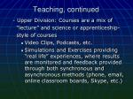 teaching continued
