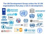 the un development group unites the 32 un organizations that play a role in development