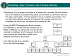 scheduling step 1 develop a list of project activities