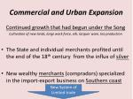 commercial and urban expansion