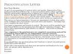 prenotification letter
