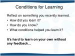 conditions for learning1