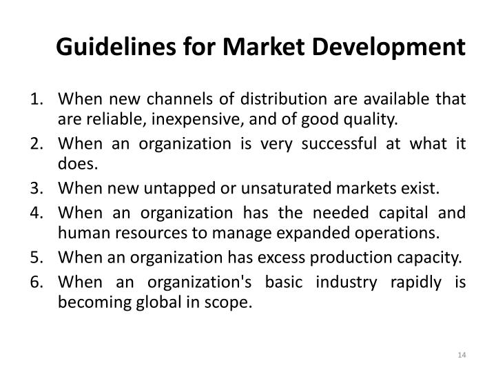 Guidelines for Market Development