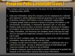 program policy example cont
