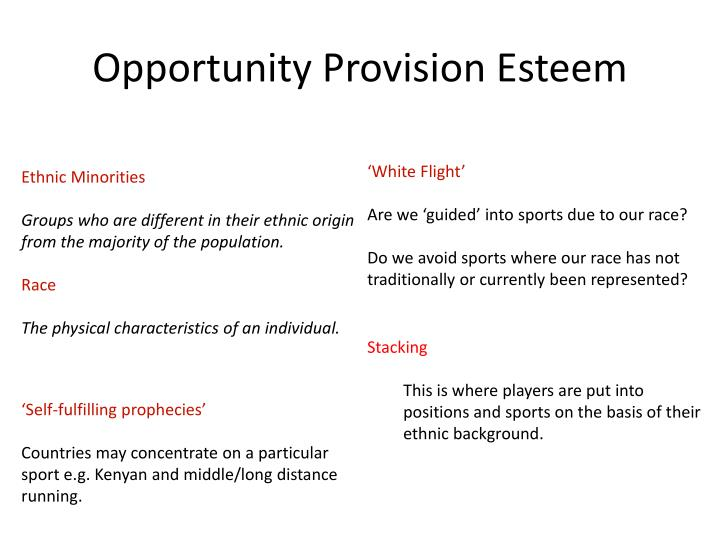 Opportunity Provision Esteem