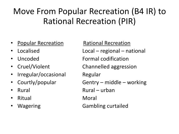 Move From Popular Recreation (B4 IR) to Rational Recreation (PIR)