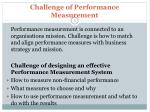 challenge of performance measurement